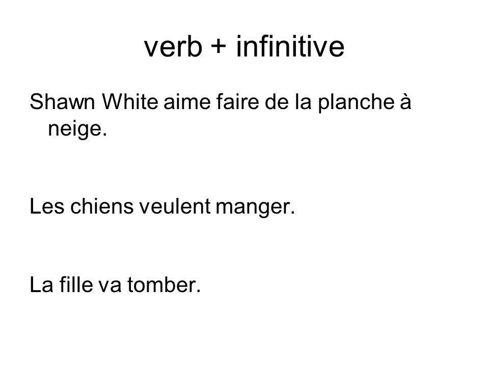 verb + infinitive Shawn White aime faire de la planche à neige.