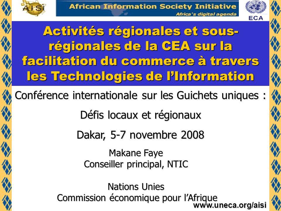 www.uneca.org/aisi Sommaire TIC et défis pour lAfrique : AISI AISI et le-commerce Le Projet Pan African e-commerce Initiative (PECI) Les activités de la CEA sur la facilitation du commerce Le Projet de Plateforme de-commerce pour lUnion du Maghreb Arabe (UMA) Les Actes de la Communauté économique des États de lAfrique de lOuest (CEDEAO) relatifs au e-commerce Le Centre africain de la CEA pour la promotion du commerce (ATPC) Conclusion