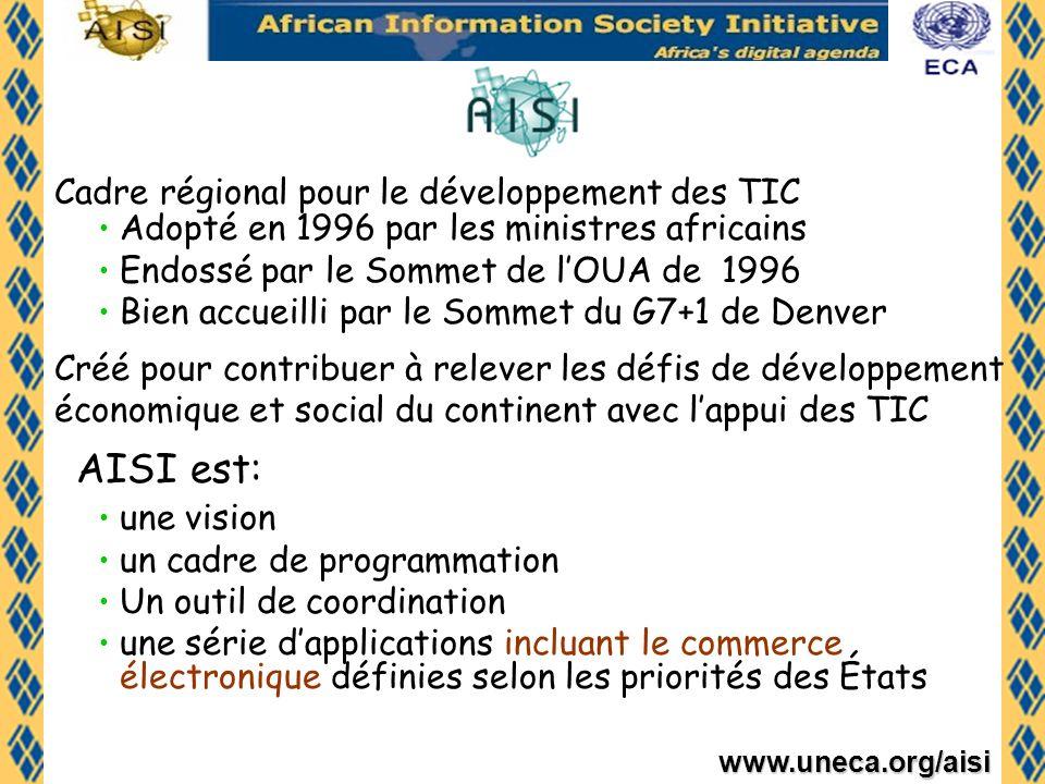 www.uneca.org/aisi Origine et Objectifs de ATPC Créé en 2003 avec le soutien financier du Canada et abrité par la CEA Renforcer les capacités des administrations africaines, avec la participation de tous les acteurs, a élaborer et mettre en œuvre des politiques appropriées pour le commerce et à participer aux négociations commerciales Mettre en place et/ou renforcer les réseaux de facilitation du commerce en Afrique.