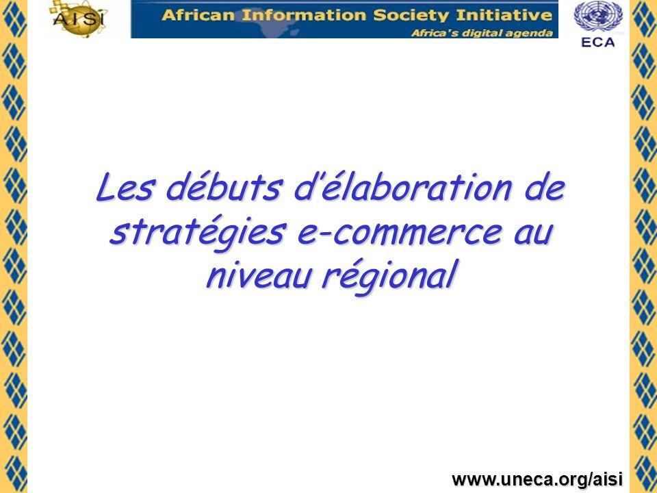 www.uneca.org/aisi - Octobre 1999: FDA (Le première édition du Forum pour le Développement de lAfrique (FDA) sur le thème: Les défis pour lAfrique de la mondialisation et de lère de linformation >>>>e-commerce fut unanimement choisi comme lune des priorités - Mars 2000: Réunion dexperts africains organisée par la CEA et le CRDI sur le- commerce - Lancement du projet Pan-African e- Commerce Initiative (PECI) par la CEA et le CRDI en 2001