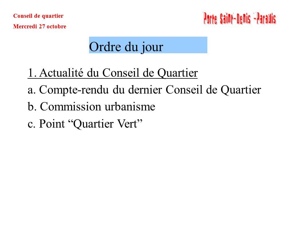 Conseil de quartier Mercredi 27 octobre Questions / Réponses: 1.