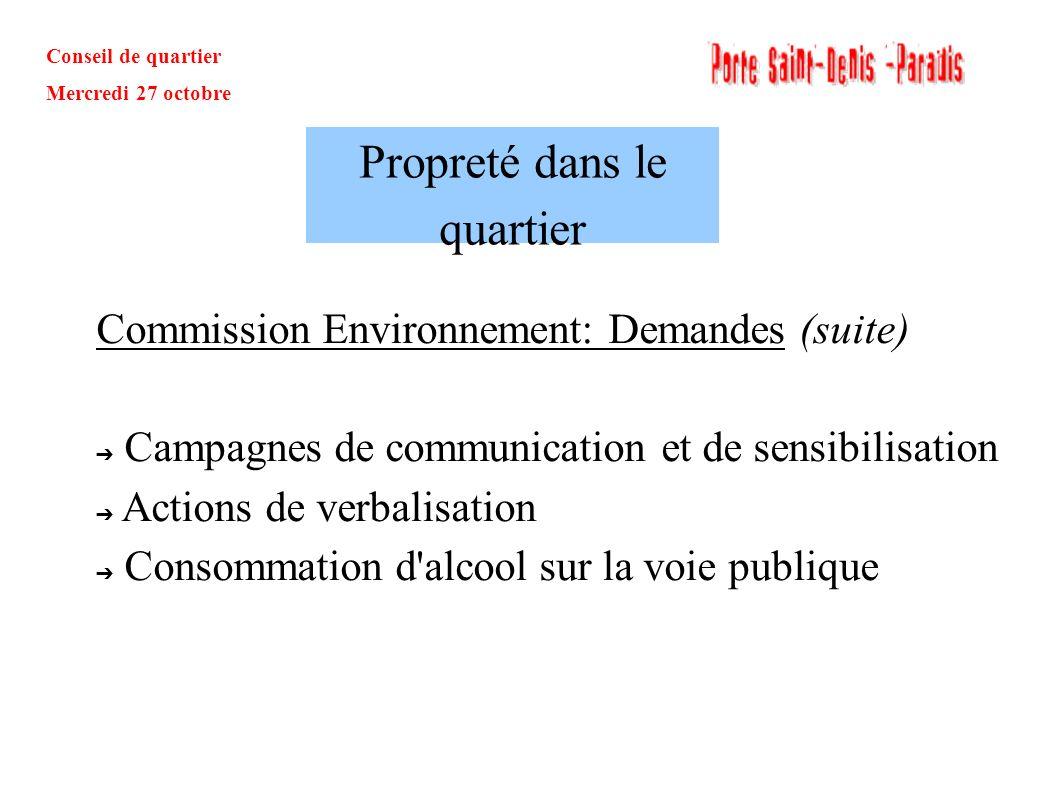Conseil de quartier Mercredi 27 octobre Commission Environnement: Demandes (suite) Campagnes de communication et de sensibilisation Actions de verbali