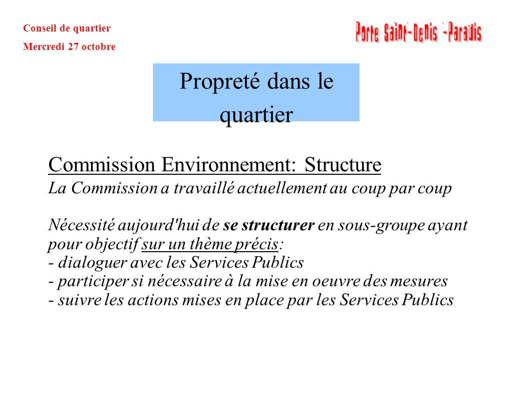 Conseil de quartier Mercredi 27 octobre Commission Environnement: Structure La Commission a travaillé actuellement au coup par coup Nécessité aujourd'