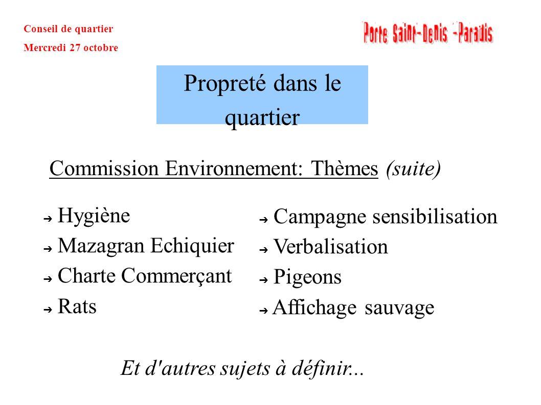 Conseil de quartier Mercredi 27 octobre Commission Environnement: Thèmes (suite) Propreté dans le quartier Hygiène Mazagran Echiquier Charte Commerçan