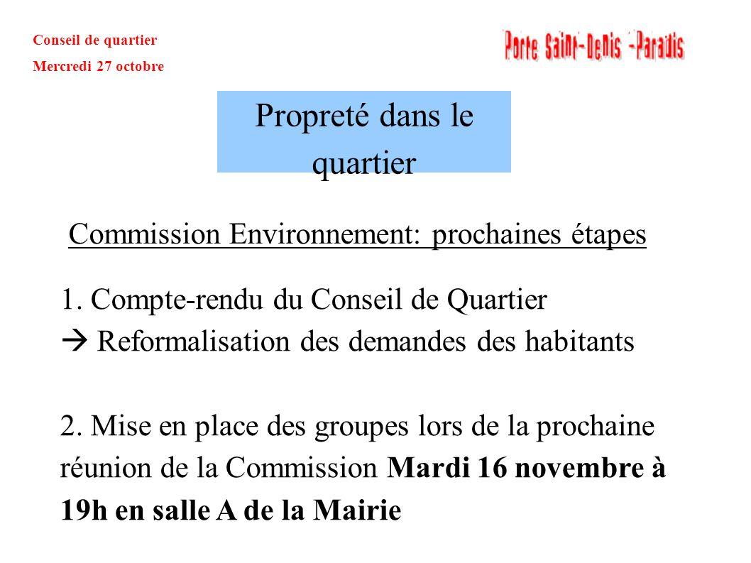Conseil de quartier Mercredi 27 octobre Commission Environnement: prochaines étapes Propreté dans le quartier 1. Compte-rendu du Conseil de Quartier R