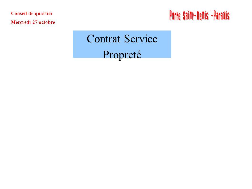 Conseil de quartier Mercredi 27 octobre Contrat Service Propreté