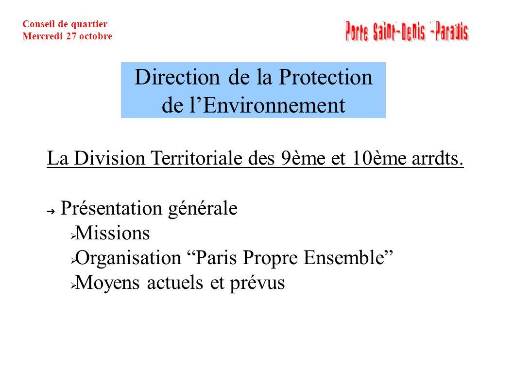 Conseil de quartier Mercredi 27 octobre Direction de la Protection de lEnvironnement La Division Territoriale des 9ème et 10ème arrdts. Présentation g