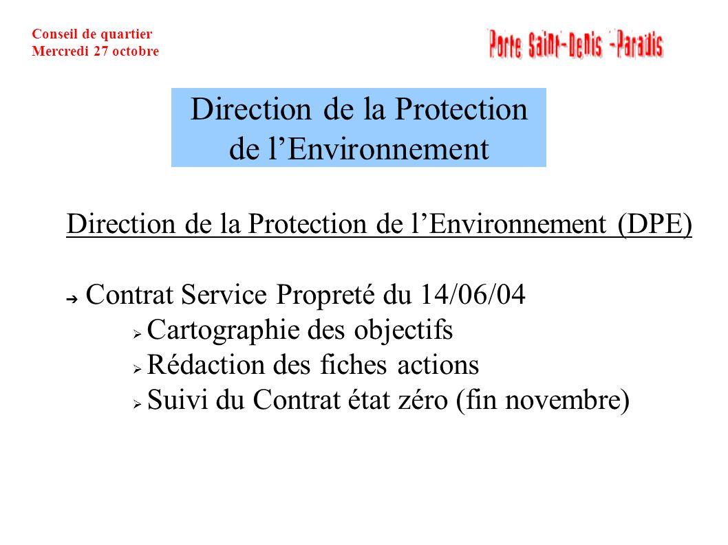 Conseil de quartier Mercredi 27 octobre Direction de la Protection de lEnvironnement (DPE) Contrat Service Propreté du 14/06/04 Cartographie des objec