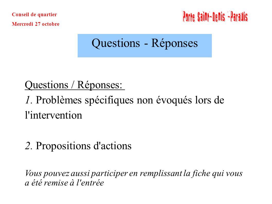 Conseil de quartier Mercredi 27 octobre Questions / Réponses: 1. Problèmes spécifiques non évoqués lors de l'intervention 2. Propositions d'actions Vo