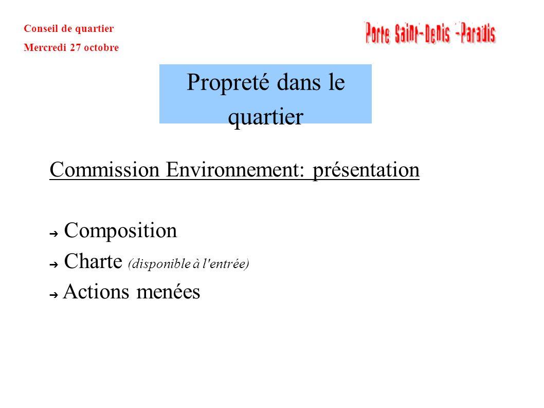 Conseil de quartier Mercredi 27 octobre Commission Environnement: présentation Composition Charte (disponible à l'entrée) Actions menées Propreté dans