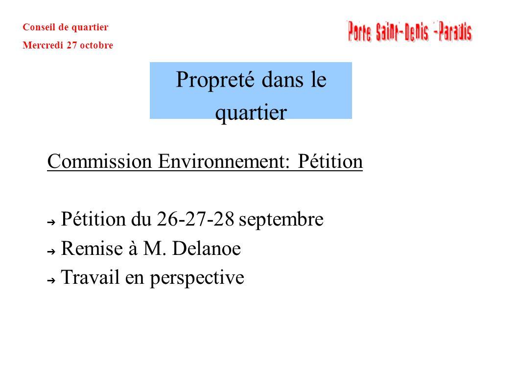 Conseil de quartier Mercredi 27 octobre Commission Environnement: Pétition Pétition du 26-27-28 septembre Remise à M. Delanoe Travail en perspective P
