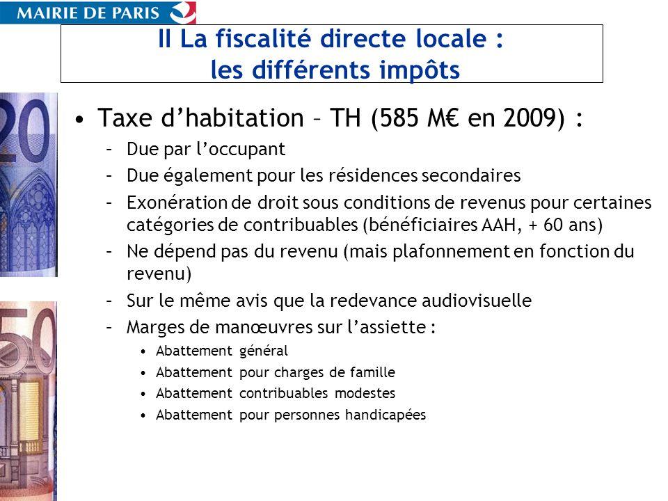 II La fiscalité directe locale : les différents impôts Taxe dhabitation – TH (585 M en 2009) : –Due par loccupant –Due également pour les résidences s
