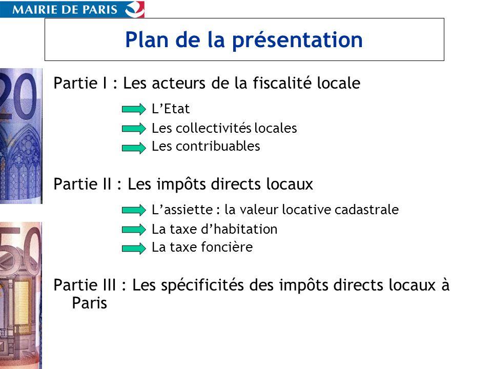 Plan de la présentation Partie I : Les acteurs de la fiscalité locale LEtat Les collectivités locales Les contribuables Partie II : Les impôts directs
