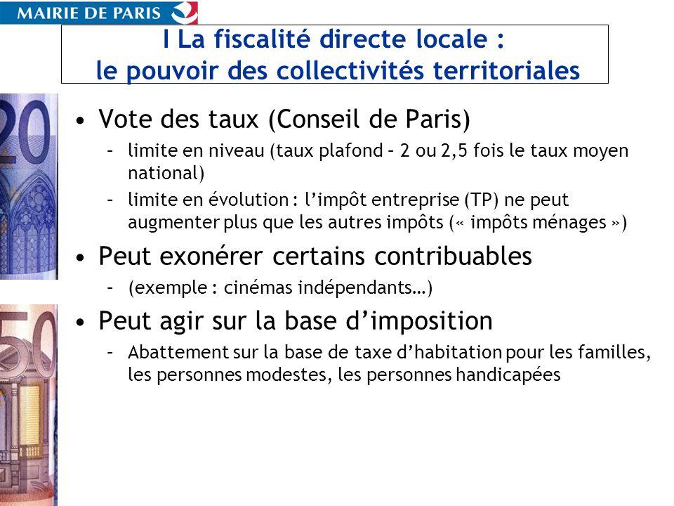 I La fiscalité directe locale : le pouvoir des collectivités territoriales Vote des taux (Conseil de Paris) –limite en niveau (taux plafond – 2 ou 2,5