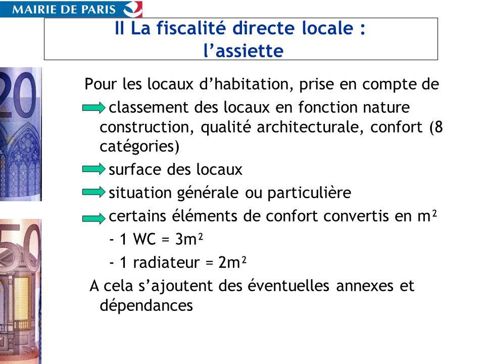 II La fiscalité directe locale : lassiette Pour les locaux dhabitation, prise en compte de classement des locaux en fonction nature construction, qual