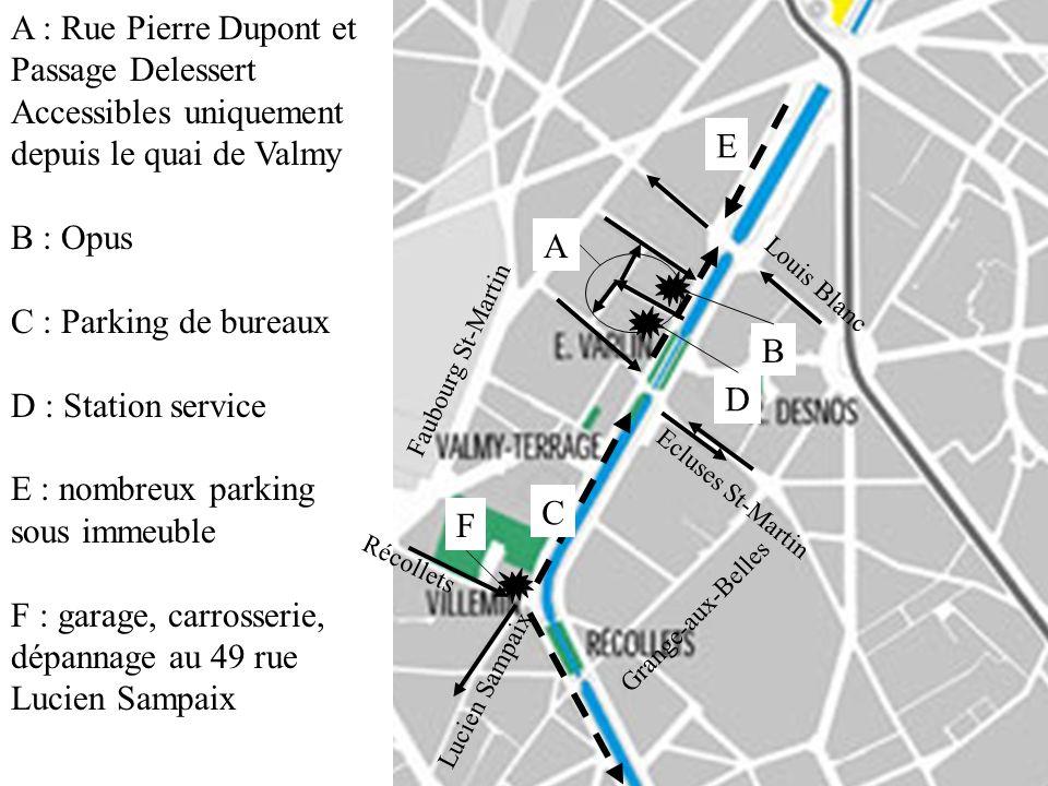 A A : Rue Pierre Dupont et Passage Delessert Accessibles uniquement depuis le quai de Valmy B : Opus C : Parking de bureaux D : Station service E : no
