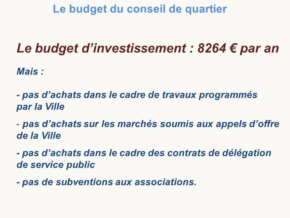 Le budget dinvestissement : 8264 par an Mais : - pas dachats dans le cadre de travaux programmés par la Ville - pas dachats sur les marchés soumis aux appels doffre de la Ville - pas dachats dans le cadre des contrats de délégation de service public - pas de subventions aux associations.