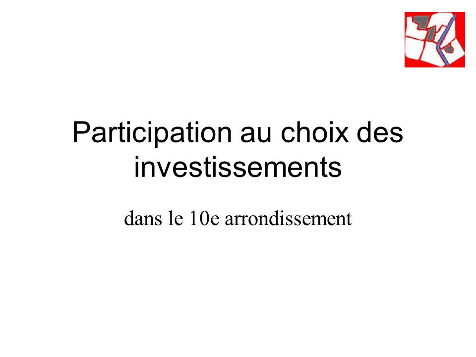 Participation au choix des investissements dans le 10e arrondissement