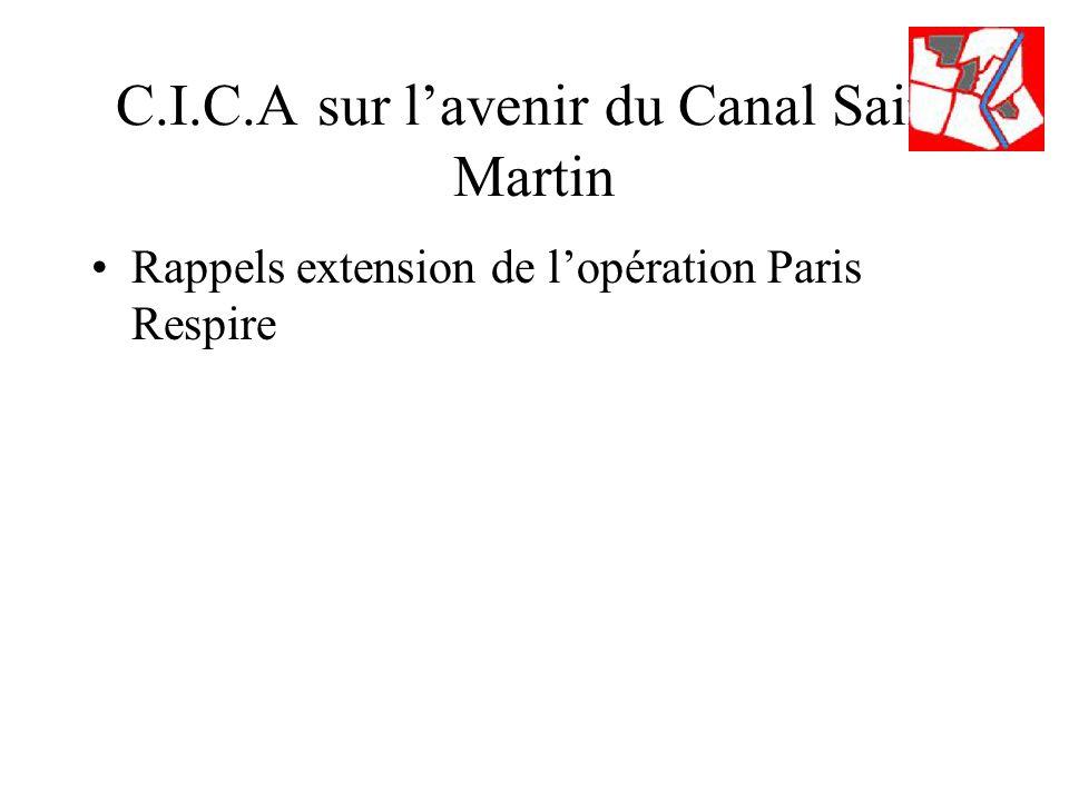 C.I.C.A sur lavenir du Canal Saint Martin Rappels extension de lopération Paris Respire