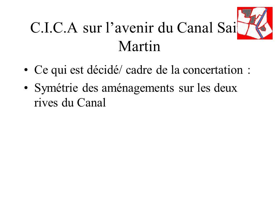 C.I.C.A sur lavenir du Canal Saint Martin Ce qui est décidé/ cadre de la concertation : Symétrie des aménagements sur les deux rives du Canal