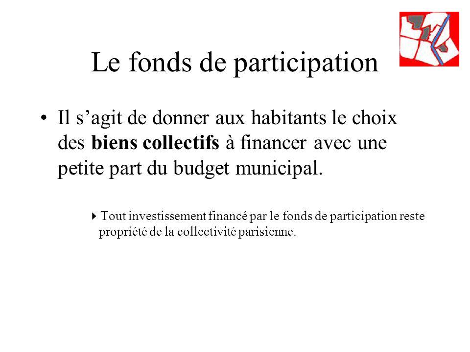 Le fonds de participation Il sagit de donner aux habitants le choix des biens collectifs à financer avec une petite part du budget municipal.