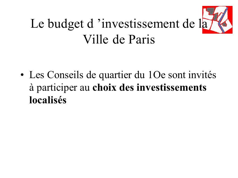 Le budget d investissement de la Ville de Paris Les Conseils de quartier du 1Oe sont invités à participer au choix des investissements localisés
