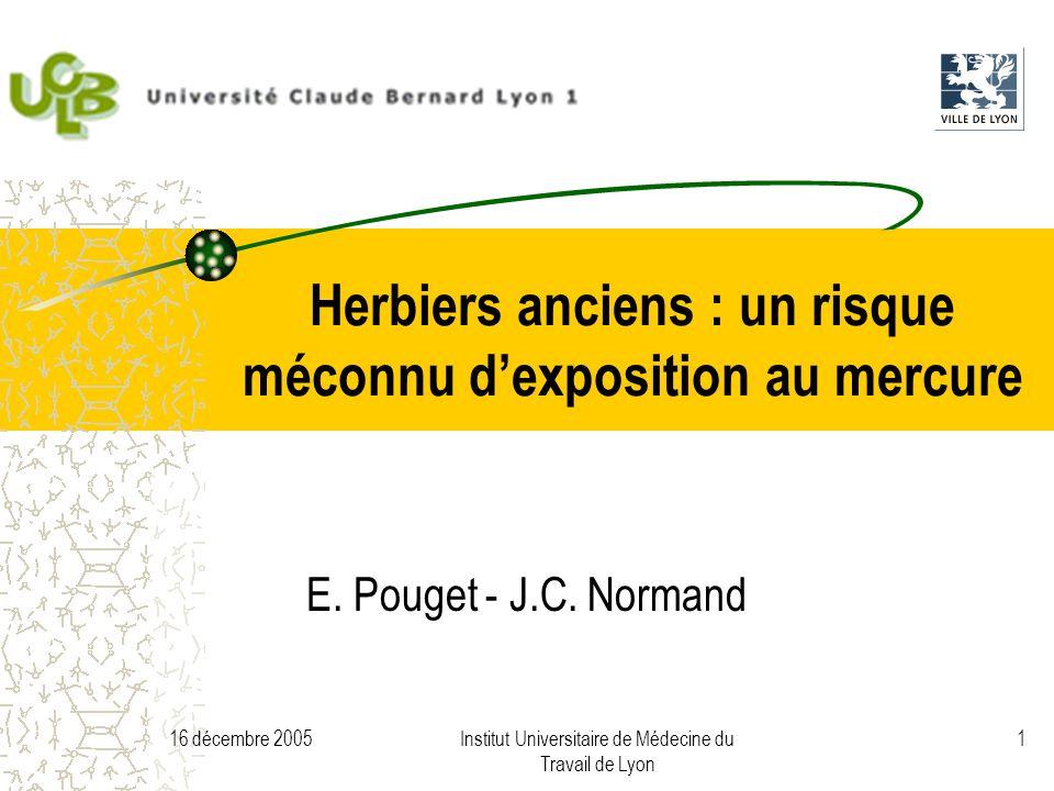 16 décembre 2005Institut Universitaire de Médecine du Travail de Lyon 1 Herbiers anciens : un risque méconnu dexposition au mercure E.