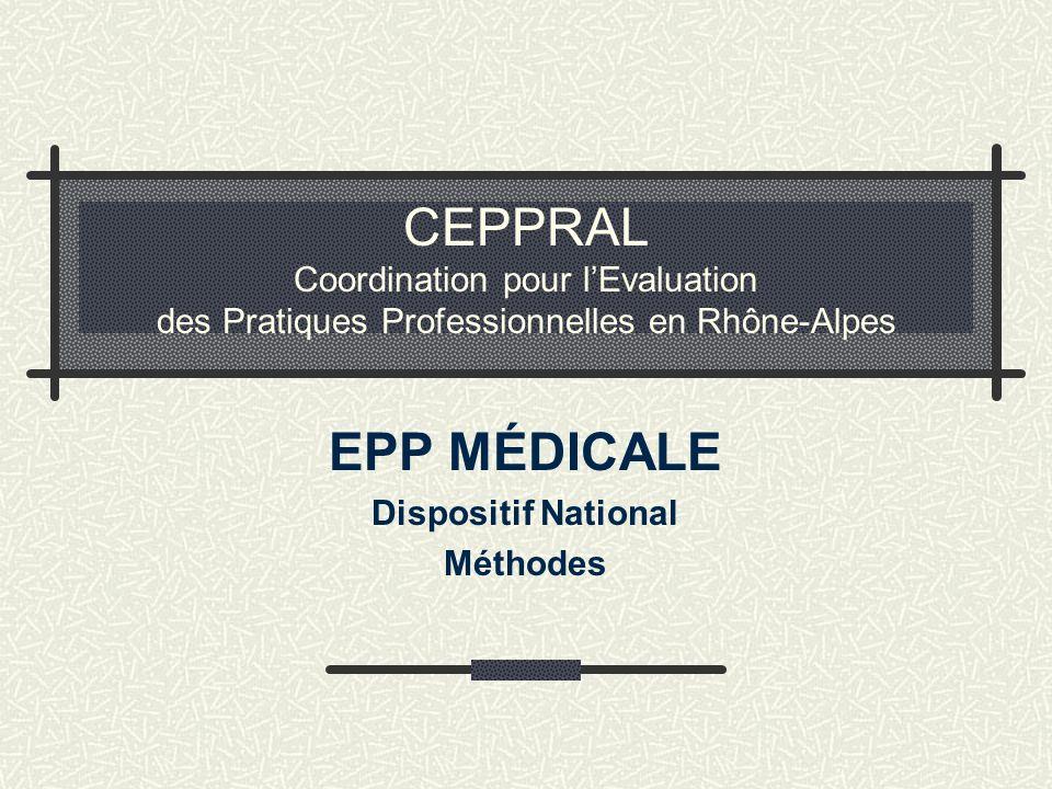 CEPPRAL Coordination pour lEvaluation des Pratiques Professionnelles en Rhône-Alpes EPP MÉDICALE Dispositif National Méthodes