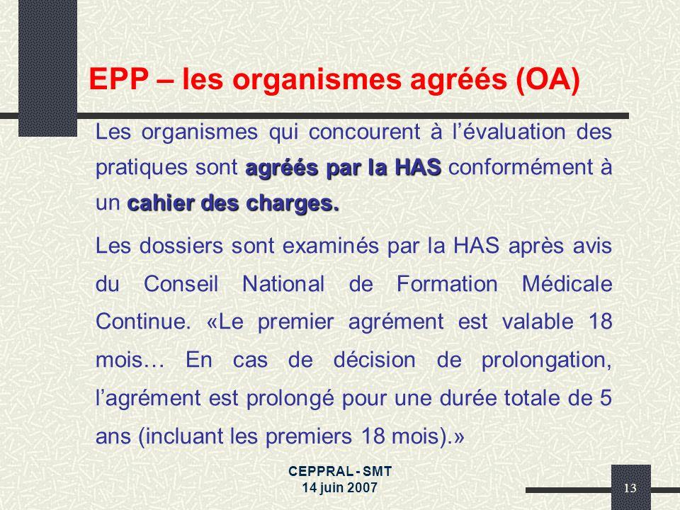 CEPPRAL - SMT 14 juin 200713 agréés par la HAS cahier des charges. Les organismes qui concourent à lévaluation des pratiques sont agréés par la HAS co