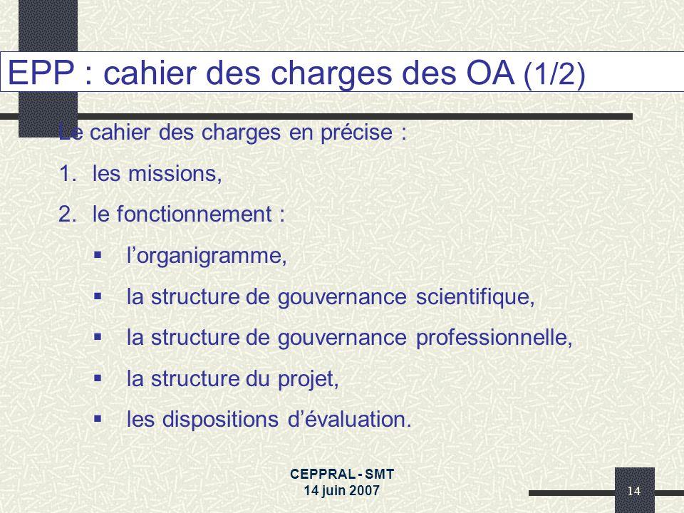CEPPRAL - SMT 14 juin 200714 EPP : cahier des charges des OA (1/2) Le cahier des charges en précise : 1.les missions, 2.le fonctionnement : lorganigra