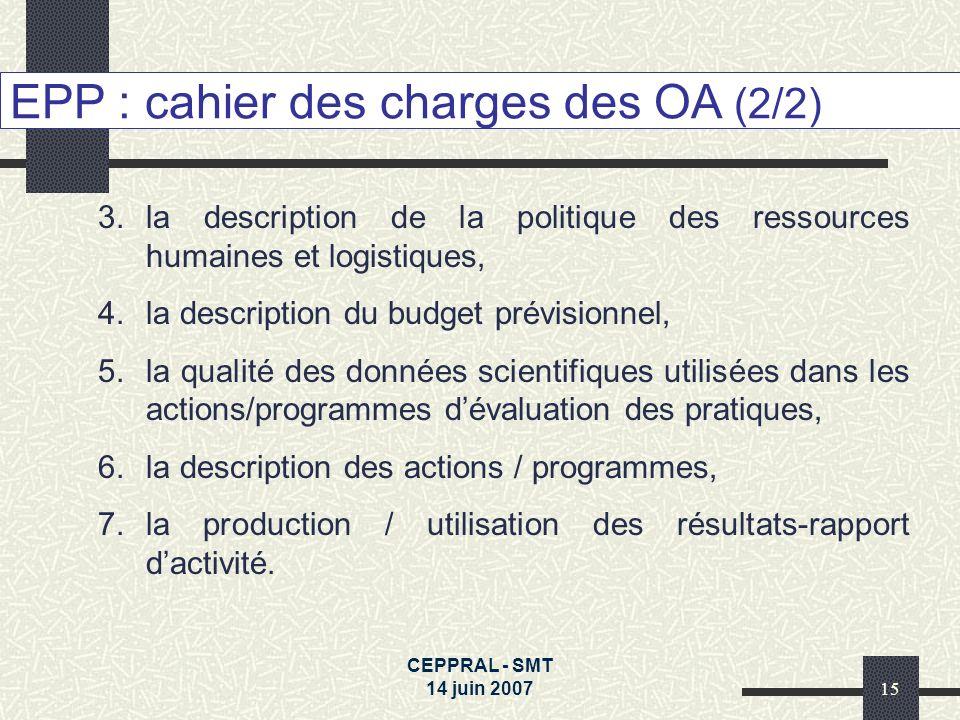 CEPPRAL - SMT 14 juin 200715 EPP : cahier des charges des OA (2/2) 3.la description de la politique des ressources humaines et logistiques, 4.la descr