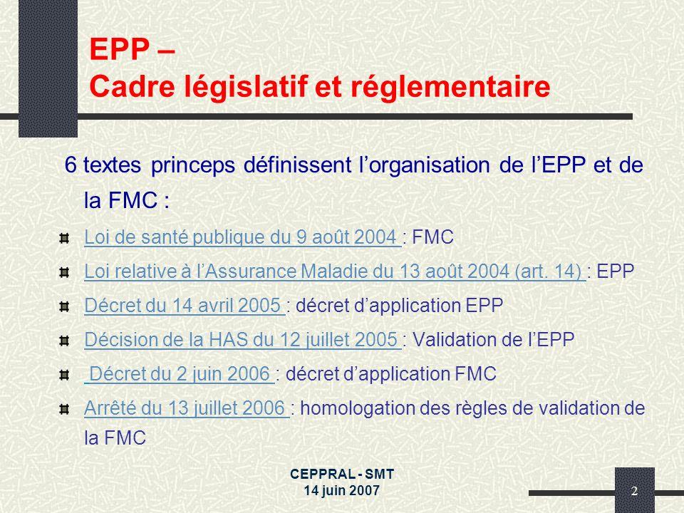 CEPPRAL - SMT 14 juin 20072 6 textes princeps définissent lorganisation de lEPP et de la FMC : Loi de santé publique du 9 août 2004 Loi de santé publi