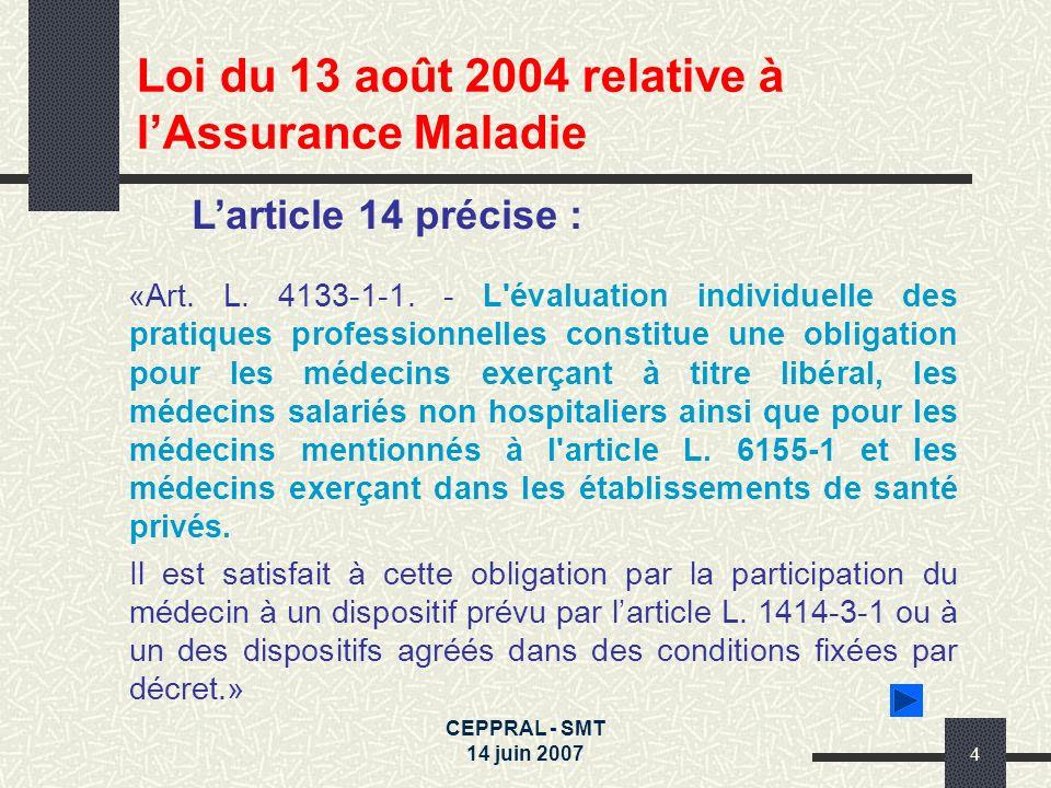CEPPRAL - SMT 14 juin 20074 Larticle 14 précise : «Art. L. 4133-1-1. - L'évaluation individuelle des pratiques professionnelles constitue une obligati