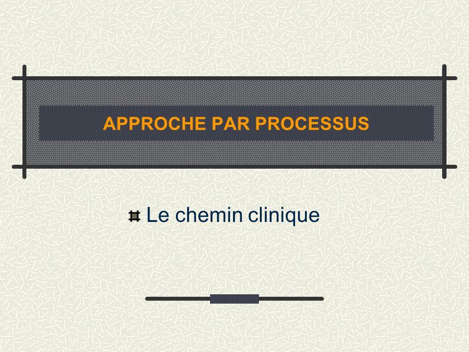 APPROCHE PAR PROCESSUS Le chemin clinique