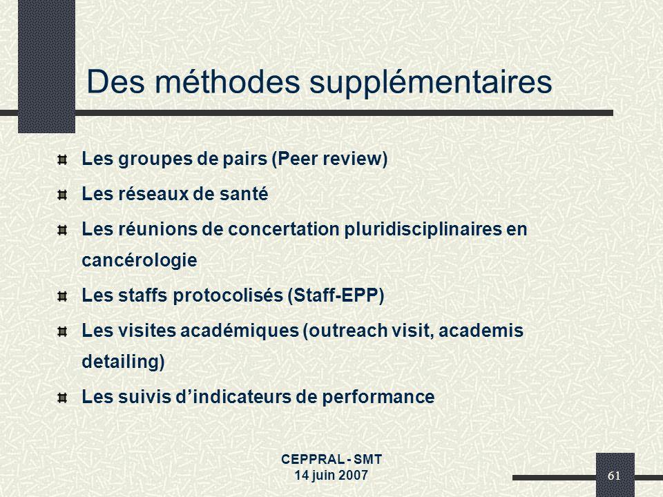 CEPPRAL - SMT 14 juin 200761 Des méthodes supplémentaires Les groupes de pairs (Peer review) Les réseaux de santé Les réunions de concertation pluridi