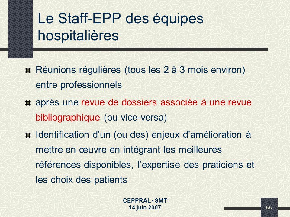 CEPPRAL - SMT 14 juin 200766 Le Staff-EPP des équipes hospitalières Réunions régulières (tous les 2 à 3 mois environ) entre professionnels après une r