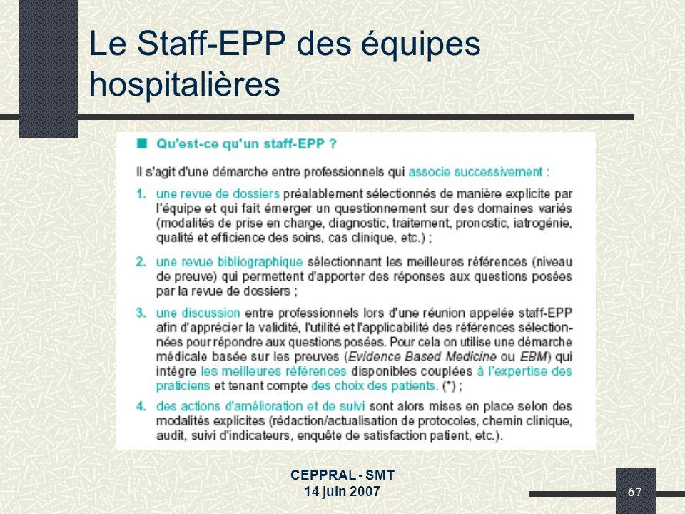 CEPPRAL - SMT 14 juin 200767 Le Staff-EPP des équipes hospitalières