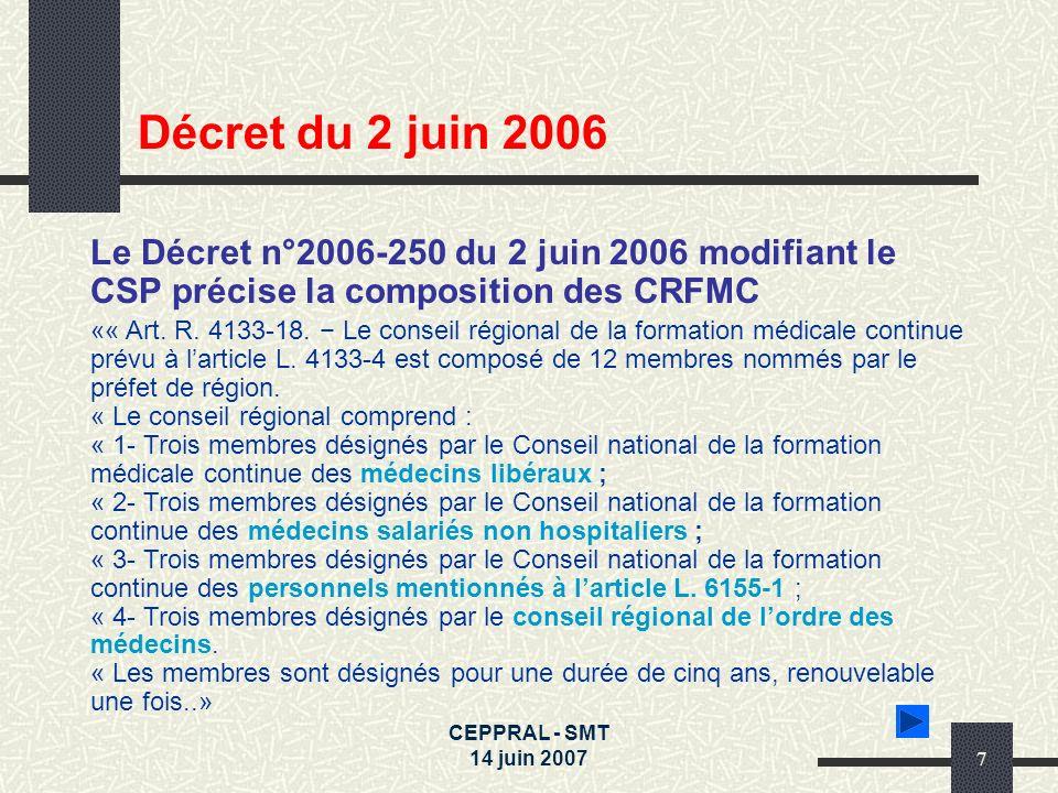 CEPPRAL - SMT 14 juin 20077 Le Décret n°2006-250 du 2 juin 2006 modifiant le CSP précise la composition des CRFMC «« Art. R. 4133-18. Le conseil régio