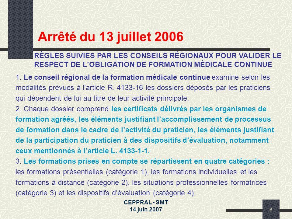 CEPPRAL - SMT 14 juin 20078 1. Le conseil régional de la formation médicale continue examine selon les modalités prévues à larticle R. 4133-16 les dos