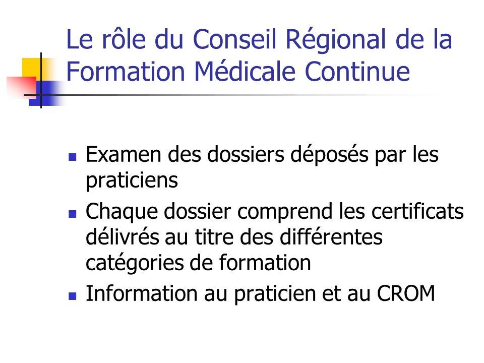 Le rôle du Conseil Régional de la Formation Médicale Continue Examen des dossiers déposés par les praticiens Chaque dossier comprend les certificats délivrés au titre des différentes catégories de formation Information au praticien et au CROM