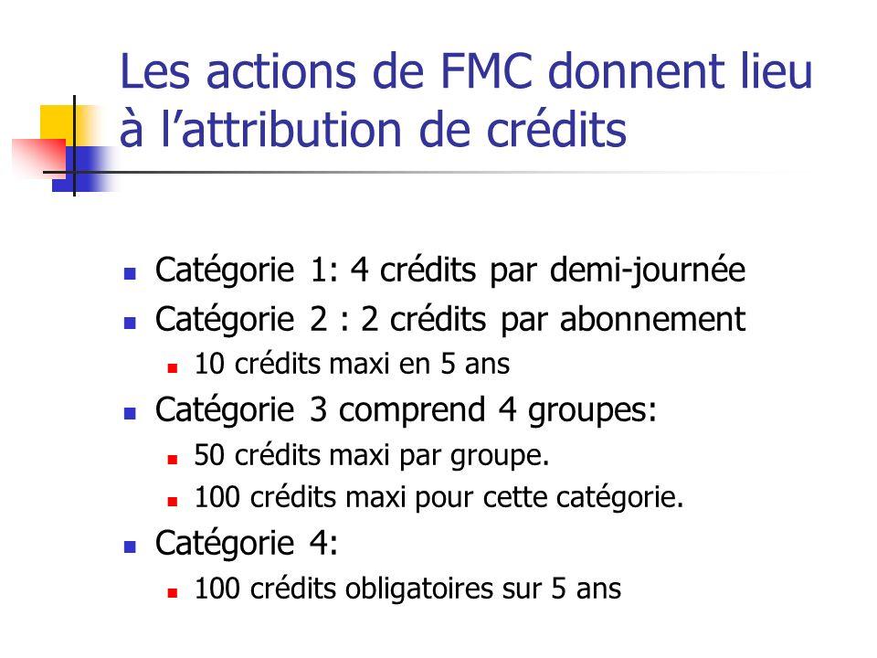 Les actions de FMC donnent lieu à lattribution de crédits Catégorie 1: 4 crédits par demi-journée Catégorie 2 : 2 crédits par abonnement 10 crédits maxi en 5 ans Catégorie 3 comprend 4 groupes: 50 crédits maxi par groupe.