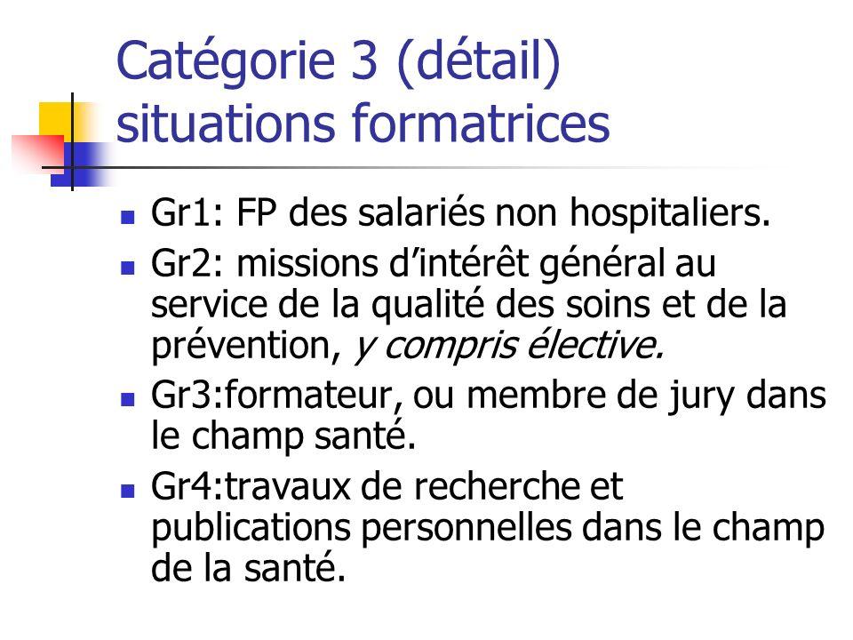 Catégorie 3 (détail) situations formatrices Gr1: FP des salariés non hospitaliers.
