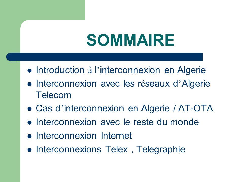 SOMMAIRE Introduction à l interconnexion en Algerie Interconnexion avec les r é seaux d Algerie Telecom Cas d interconnexion en Algerie / AT-OTA Inter