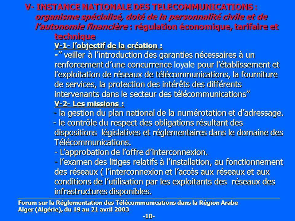 V- INSTANCE NATIONALE DES TELECOMMUNICATIONS : organisme spécialisé, doté de la personnalité civile et de organisme spécialisé, doté de la personnalit
