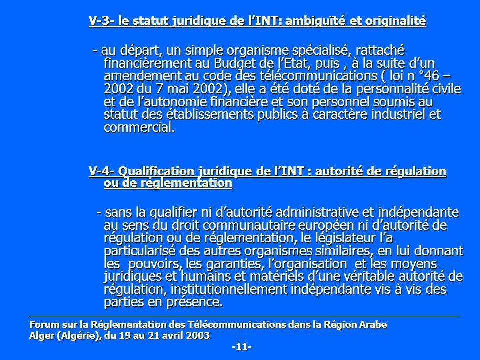 V-3- le statut juridique de lINT: ambiguïté et originalité - au départ, un simple organisme spécialisé, rattaché financièrement au Budget de lEtat, pu