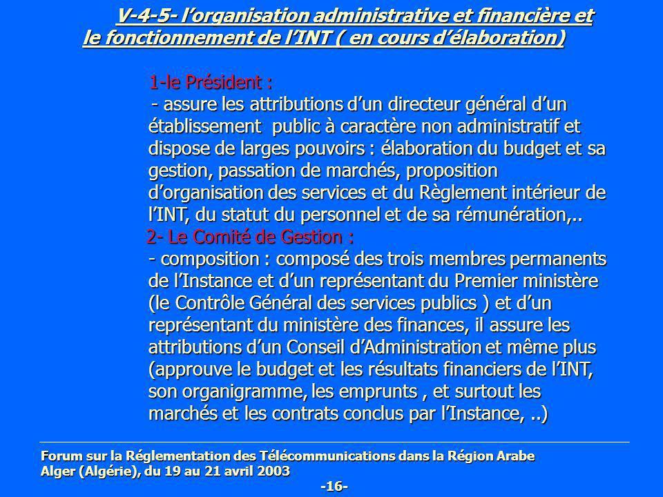V-4-5- lorganisation administrative et financière et le fonctionnement de lINT ( en cours délaboration) V-4-5- lorganisation administrative et financi
