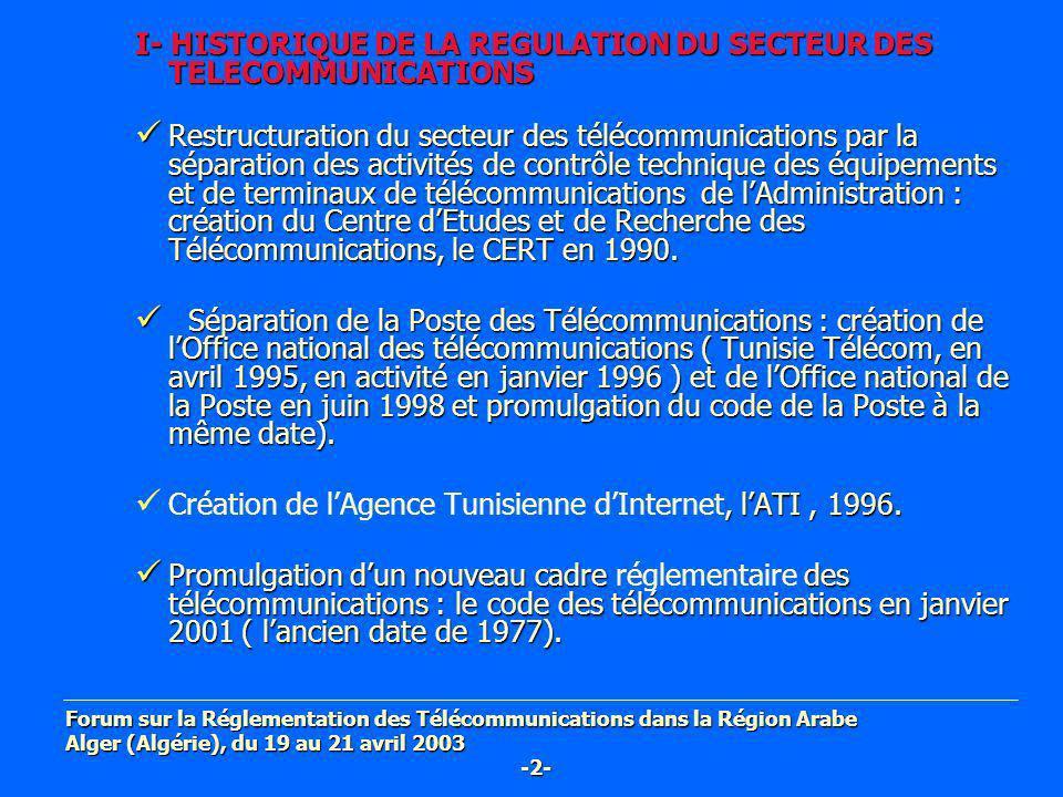 I- HISTORIQUE DE LA REGULATION DU SECTEUR DES TELECOMMUNICATIONS Restructuration du secteur des télécommunications par la séparation des activités de