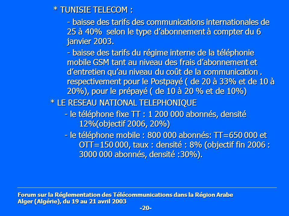 Forum sur la Réglementation des Télécommunications dans la Région Arabe Alger (Algérie), du 19 au 21 avril 2003 -20- * TUNISIE TELECOM : - baisse des