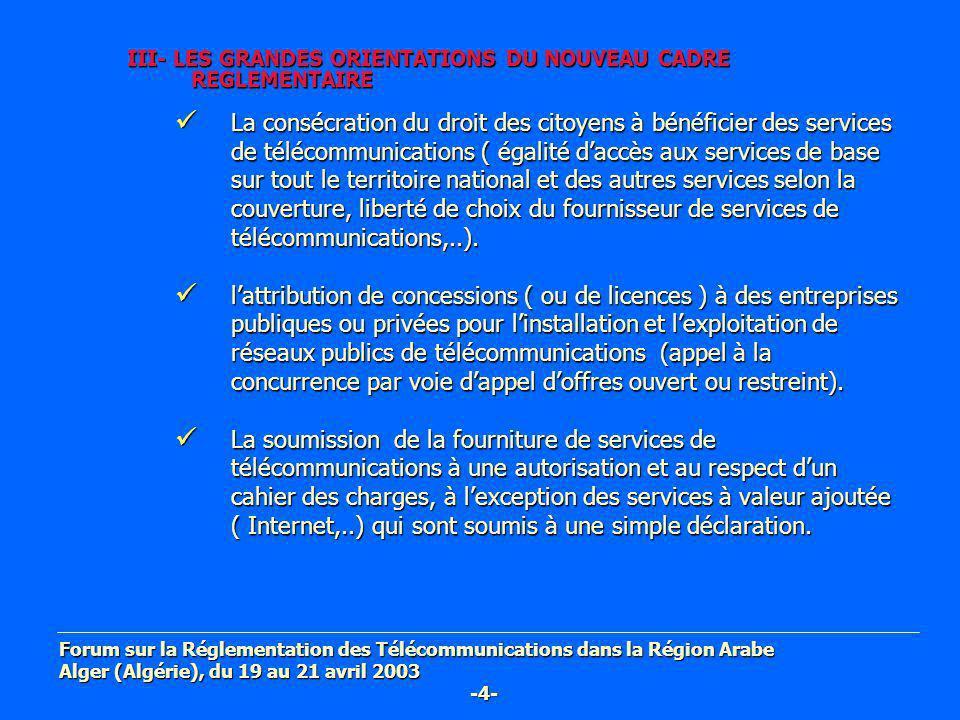 III- LES GRANDES ORIENTATIONS DU NOUVEAU CADRE REGLEMENTAIRE La consécration du droit des citoyens à bénéficier des services de télécommunications ( é
