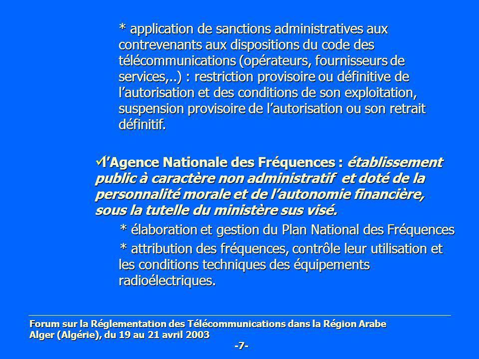 * application de sanctions administratives aux contrevenants aux dispositions du code des télécommunications (opérateurs, fournisseurs de services,..)